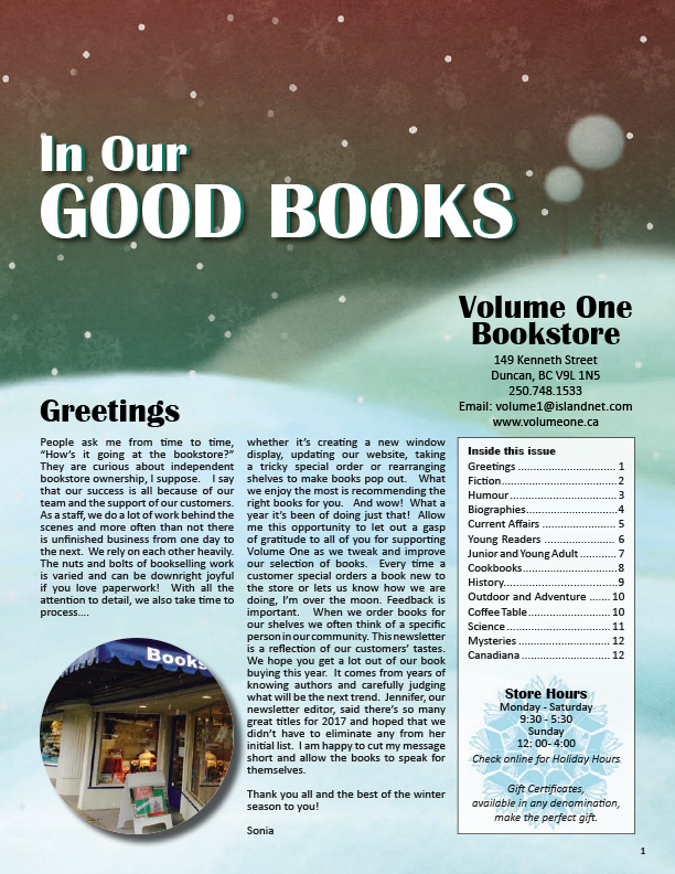 Volume One Books Winter Newsletter